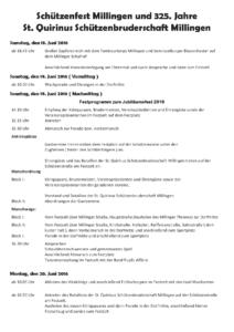 Festprogramm Schützenfest 2016